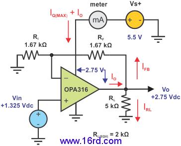 全部电路功率由opa316在内部消耗掉.图3显示了一个短路连接.