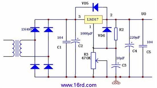 基本原理说明,交流220经变压器变压后,送入整流电路,经两个电容进行高低频滤波后,可得到较平的直流电压,变压器的选择,可根据手头的情况灵活选取,一般在15至30V输都可以使用。317两端的二极管是用于电路产生反向高压的保护性器件,以防止稳压器损坏,两个电源组成调节电路,可调电阻尽可能选择精度比较高的类型,这样在调节电压时会比较准确。电容的耐压容量选择,在输出电压的两倍以上就可以,容值和耐压大一点会比较好一些。317的电压调节范围是在1。2至27V之间,这样就可以通过调节可变电阻实现1。5V电压的直流输