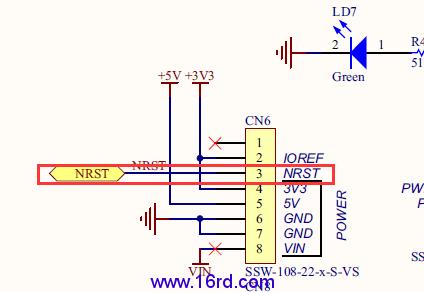 (3)使用arduino接口的cn6的3引脚对stm32469i-disco进行复位.