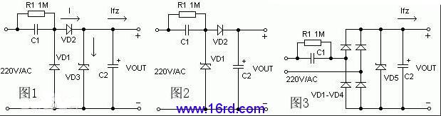 容阻降压式控制电路原理图